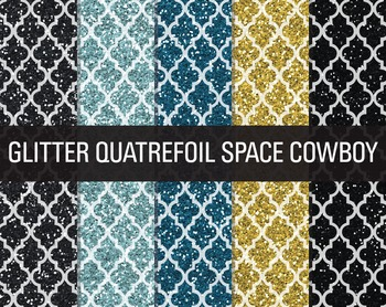 Digital Papers - Glitter Quatrefoil Patterns Space Cowboy