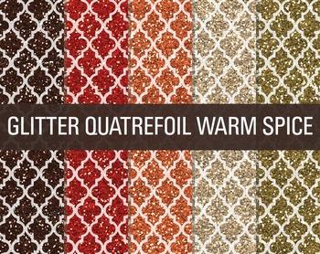 Digital Papers - Glitter Quatrefoil Patterns Warm Spice