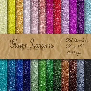 Digital Paper Pack - Glitter Textures - 24 Different Papers - 12 x 12