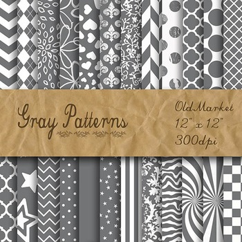 Digital Paper Pack - Gray Pattern Designs - 24 Different Papers - 12 x 12