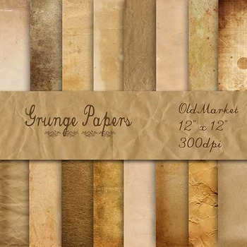 Digital Paper Pack - Grunge Papers - 16 Different Papers - 12inx12in