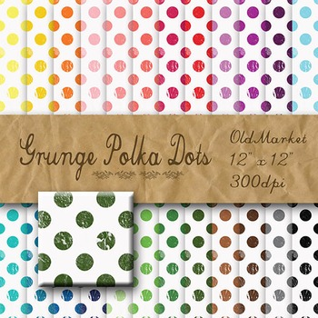 Digital Paper Pack - Grunge Polka Dots - 24 Different Papers - 12 x 12