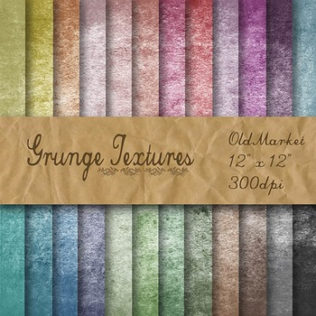 Digital Paper Pack - Grunge Textures - 24 Different Papers - 12 x 12