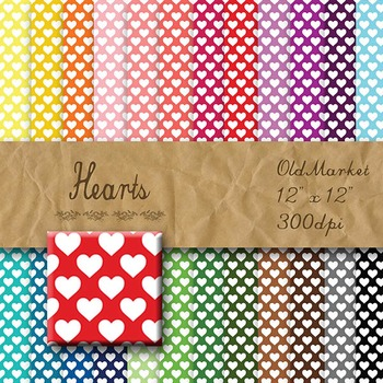 Digital Paper Pack - Hearts - 24 Different Papers - 12 x 12