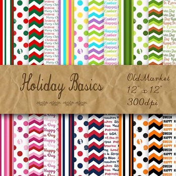 Digital Paper Pack - Holiday Basics - 24 Different Papers - 12 x 12