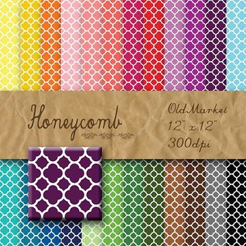 Digital Paper Pack - Honeycomb - 24 Different Papers - 12 x 12