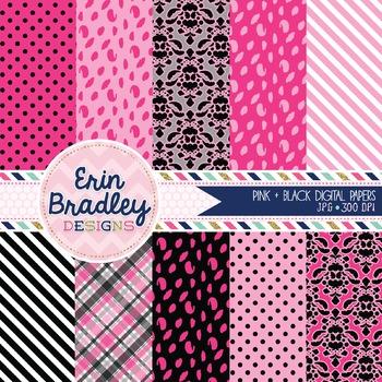 Digital Paper Pack - Hot Pink & Black