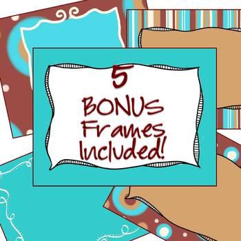 Digital Paper Pack - Instant Download - Brown & Aqua