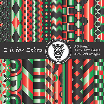 Digital Paper Pack Kwanzaa Colors - Gradient - CU ok { ZisforZebra}