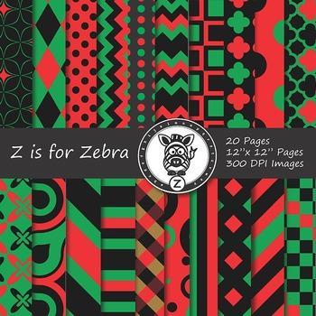 Digital Paper Pack Kwanzaa Colors, Red, Black, Green - CU ok { ZisforZebra}