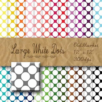 Digital Paper Pack - Large White Dots - 24 Different Papers - 12 x 12