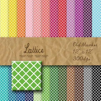 Digital Paper Pack - Lattice - 24 Different Papers - 12 x 12