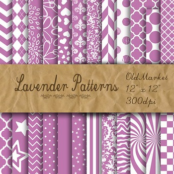 Digital Paper Pack - Lavender Pattern Designs - 24 Different Papers - 12 x 12