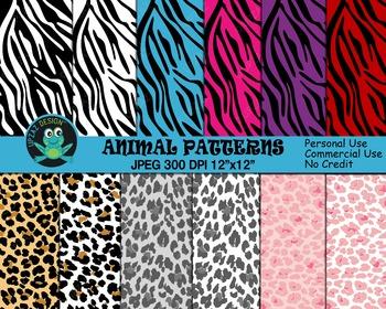 Zebra Print and Leopard Print Digital Papers (Upzaz Digital Clipart)
