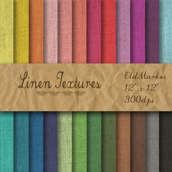Digital Paper Pack - Linen Textures - 24 Different Papers - 12 x 12