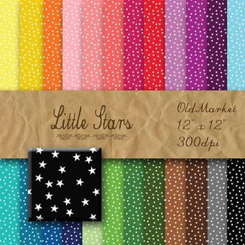 Digital Paper Pack - Little Stars - 24 Different Papers - 12 x 12