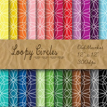 Digital Paper Pack - Loopy Circles - 24 Different Papers - 12 x 12