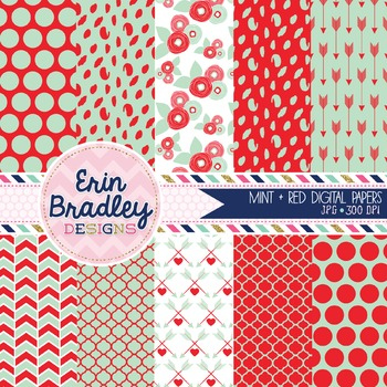 Digital Paper Pack - Mint and Red