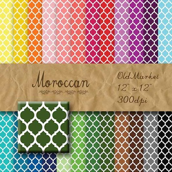 Digital Paper Pack - Moroccan Patterns - 24 Different Papers - 12 x 12