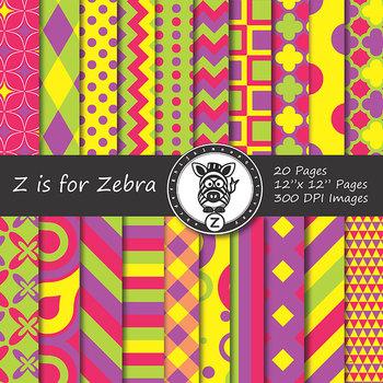 Digital Paper Pack Multicolored 3 - CU ok { ZisforZebra}