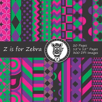 Digital Paper Pack Multicolored 4 - CU ok { ZisforZebra}