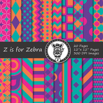 Digital Paper Pack Multicolored 5 - CU ok { ZisforZebra}