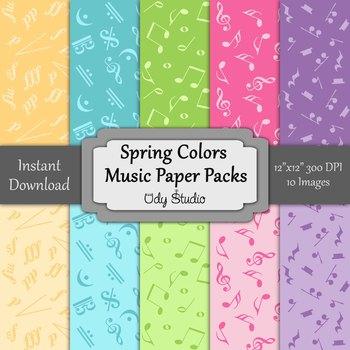 Digital Paper Pack- Music Spring Colors