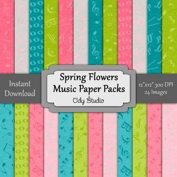 Digital Paper Pack- Music Spring Flowers