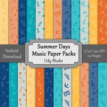Digital Paper Pack- Music Summer Days