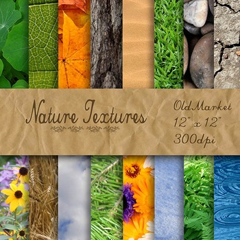 Digital Paper Pack - Nature Textures - 16 Different Papers - 12inx12in
