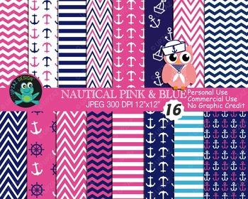 Pink Blue Nautical Papers {Upzaz Digital Clipart}