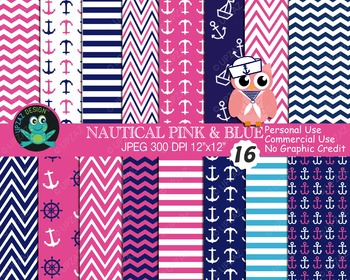 Pink Blue Nautical Papers {Upzaz Digital Clipart}