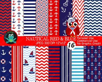 Patriotic Nautical Papers {Upzaz Digital Clipart}