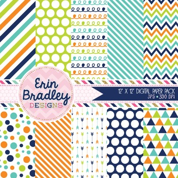 Digital Paper Pack - Navy Blue Green Orange