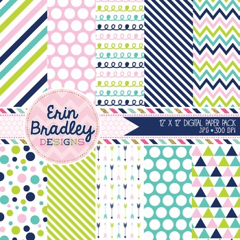 Digital Paper Pack - Navy Blue Pink Green