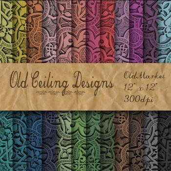 Digital Paper Pack - Old Ceiling Designs - 24 Different Papers - 12 x 12