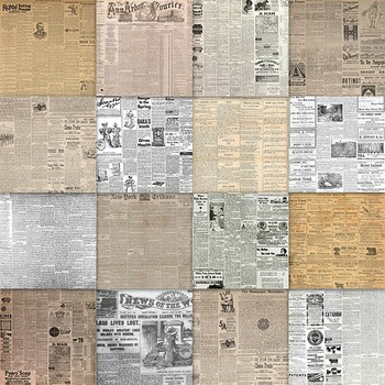 Digital Paper Pack - Old Newspapers - 16 Different Papers - 12inx12in