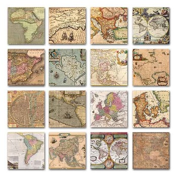 Old Vintage Maps Digital Papers - 16 Different Papers - 12inx12in