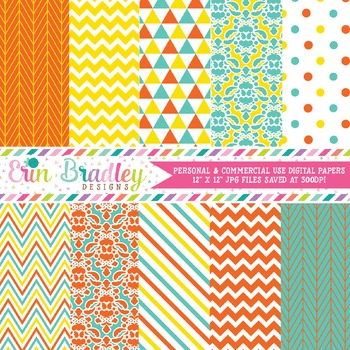 Digital Paper Pack - Orange Blue and Yellow