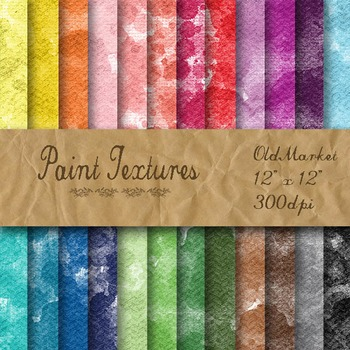 Digital Paper Pack - Watercolor Paint Textures - 24 Different Papers - 12 x 12