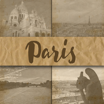 Digital Paper Pack - Paris France Photos - 12 Different Papers - 12inx12in