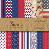 Digital Paper Pack - Patriotic - 16 Different Papers - 12 x 12
