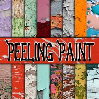 Digital Paper Pack - Peeling Paint Textures - 16 Different Papers - 12inx12in