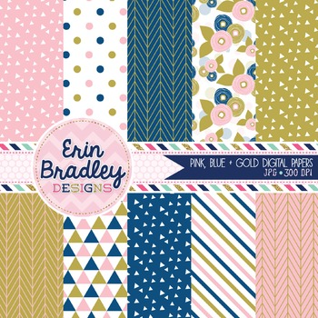 Digital Paper Pack - Pink Blue Gold