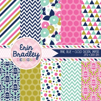 Digital Paper Pack - Pink Blue & Gold Background Patterns