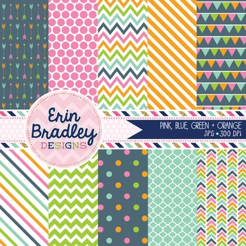 Digital Paper Pack Pink Blue Green Orange Stripes Polka Dots Chevron Patterns