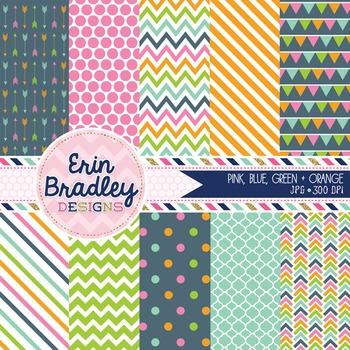 Digital Paper Pack Pink Blue Green Orange Stripes Polka Do