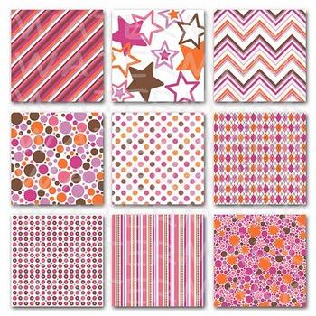 Digital Paper Pack - Pink, Orange and Brown - 24 Papers - 12 x 12