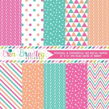 Digital Paper Pack - Pink Peach Blue