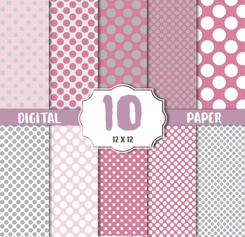 Digital Paper Pack, Polka dots pink white